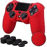 Pandaren STUDDED silicone peau de Housses Coque anti-dérapant pour le Manette PS4 x 1 (rouge) + FPS...