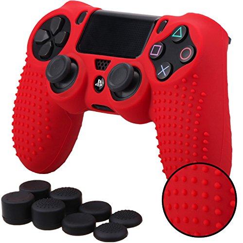Pandaren BORCHIE silicone custodie cover pelle antiscivolo per PS4 controller x 1 (rosso) + FPS PRO thumb grips pollice prese x 8