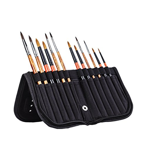 MEEDEN 11 X 10.5 Inch Mesh Paint Brushes Case Zippered Brush Holder, Short Handle, Black