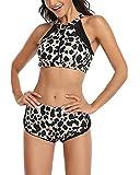 GUOCU Costumi Donna Ragazza Mare Due Pezzi Stampa Leopardo Brasiliana Bikini Ragazza Push Up Calzedonia Costume Bikini Costume da Bagno Vita Alta Fiori Trikini Leopardo Donna:XL
