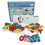 Numeri in Legno Alfabeti Flash Card, Motivo Animale Lettera Puzzle ABC Parole per la Vista...