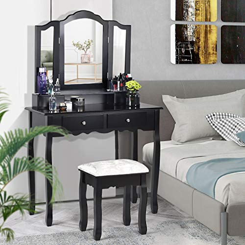 Vanity Set with 3 Mirrors & 4 Drawers, Makeup Dressing Table with -
