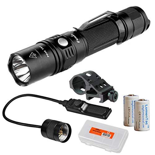 Lumen Tactical Tactical Light Bundle: Fenix PD35TAC (PD35 Tactical) XP-L 1000 Flashlight, AER-02 Pressure Switch, Offset Mount, 2X CR123a Batteries, & LumenTac Battery Organizer