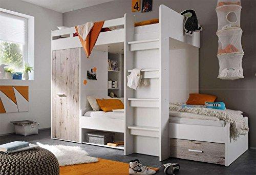 lifestyle4living Hochbett, Jugendzimmer, Kinderzimmer, Jugendzimmermöbel, Kinderzimmermöbel, Sandeiche, weiß, Etagenbett, Stockbett, Kleiderschrank, Regal