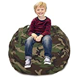 CALA Stuffed Animal Storage Bean Bag Chair-Cover Only- Extra Large 38' Kids Soft Toy Storage - 100% Cotton Canvas Bean Bag Chair(Camouflage)