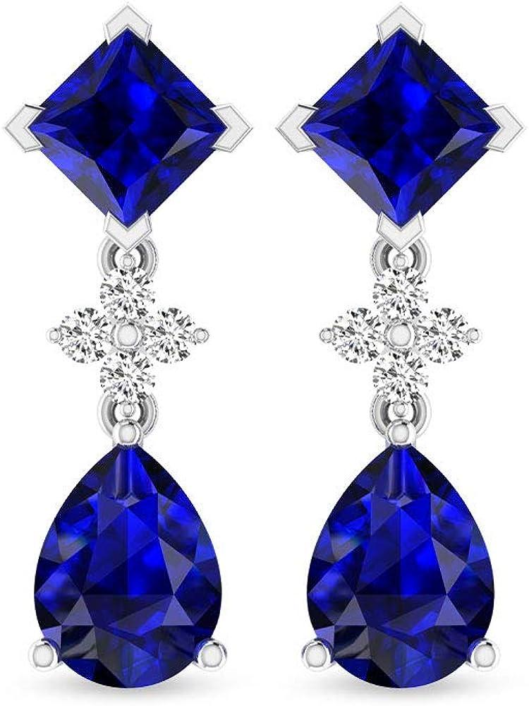 3.70 Carat Certified Princess Pear Shaped Sapphire Diffused Drop Earring, Moissanite Cluster Bridal Wedding Chandelier Earring, Teardrop Long Earrings, Screw Back
