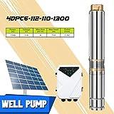 EnweGey Bomba Sumergible para Pozos Profundos, Bomba de Agua Solar 110V 1500W de 4 Pulgadas con...