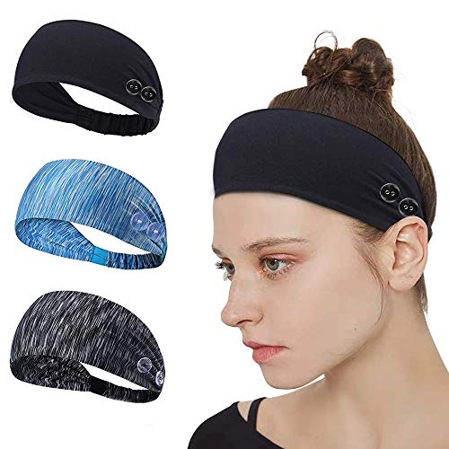 esonstyle Wide Workout Headband Sports Moisture Wicking Headband Sports Fitness Yoga Running Travel Stretch Sweatband Hair Headbands for Women and Men (Black)