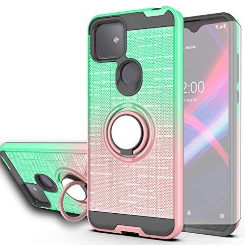 AYMECL T-Mobile Revvl 4 Plus Case,Revvl 4+ Case,TCL Revvl 4 Plus Case with HD Screen Protector,360 Degree Ring Holder Gradient Dual Layer Protective Case for T-Mobile Revvl 4+ -BG Mint&Rose Gold