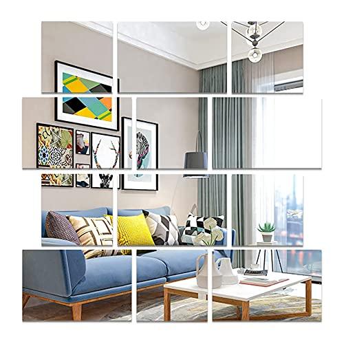 CUNYAUK Paquete de 12 Pegatinas de Pared de Espejo acrílico cuadradas, decoración de Pared de Espejo Autoadhesivo, Azulejos de Espejo extraíbles para decoración de habitación