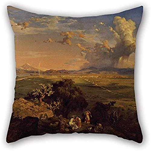 Pillow Shams Cm Gute Wahl für Lounge, Gril Freund, Festival, Sofa, Monther, Club Ölgemälde Eugenio Landesio - Das Tal von Mexiko vom Tenayo aus gesehen