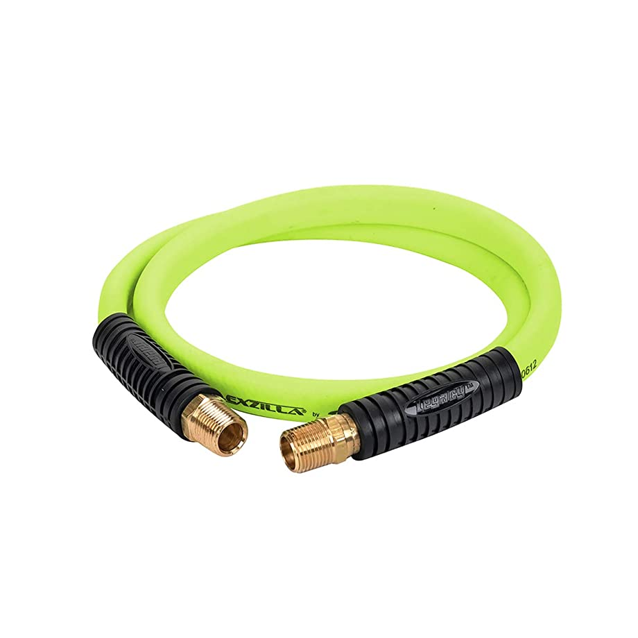 Flexzilla Swivel Whip Air Hose, 1/2 in. x 4 ft. (1/2 in. MNPT Swivel x 1/2 in. MNPT Ends), Heavy Duty, Lightweight, Hybrid, ZillaGreen - HFZ1204YW4S