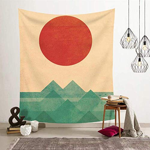 Bohemian HD Printed Tapestry, Wall Art, Tablecloth, Furniture Cover, Ceiling Cover, Room Divider, Home Decor, Picnic Blanket, Gifts (51' x 60', Ocean and Red Sun)