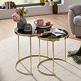 FineBuy Juego de mesas auxiliares de 2 Piezas Vidrio y Metal | Mesas de Centro Oro | Mesas pequeñas Modernas para el salón