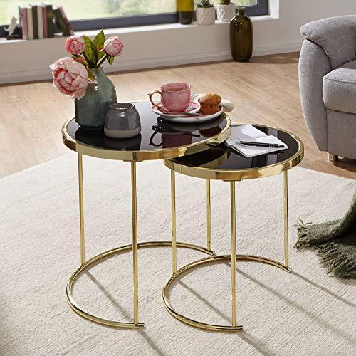 FineBuy Design Satztisch Caro schwarz/Gold Beistelltisch Metall/Glas | Couchtisch Set aus 2 Tischen | Kleiner Wohnzimmertisch | Metalltisch mit Glasplatte | Ablagetisch modern