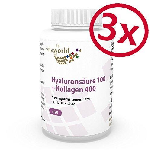 3er Pack Vita World Hyaluronsaeure 100mg + Kollagen 400mg 3 x 120 Kapseln Apotheker-Herstellung