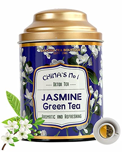 Sancha Tea Boutique Jasmine Green Tea (100Cups+), Intensely Aromatic, Night Blooming Jasmine Flower Blend, Rich in Antioxidants, Imported Tea, Jasmine Tea, Green Tea Immune, Low Bitterness, Zero Calories & Improves Metabolism