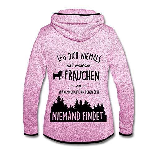 Spreadshirt Hund Leg Dich Nie Mit Frauchen An Frauen Kapuzen-Fleecejacke, XL, Lila meliert