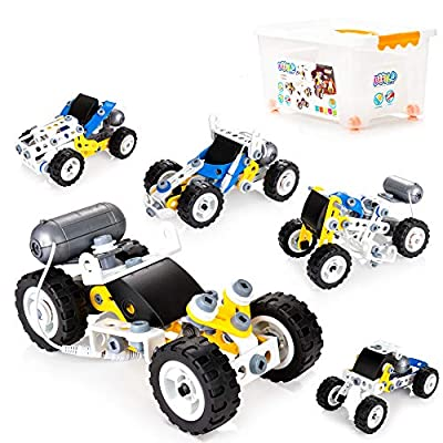 10-in-1 STEM Educational Building Kit for Kids, Engineering Building Blocks Battery Operated Construction Toy Gift for Kids Age 5+ (113 PCS)