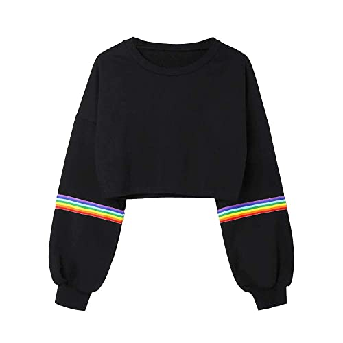 6d150dea Women Autumn Winter Pullover Laimeng_World Womens Long Sleeve Striped Crop  Short Sweatshirt Jumper Black Top