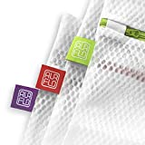 AURFLO Mesh Laundry Bag-Set of 3 Medium Heavy Duty Net with Zipper Lock, Color Coding and Hanging Loop-Safe Wash and Organizer for Travel, Lingerie, Gloves, Socks, Yoga Pants, Bra, Jeans, Sweater