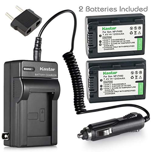 Kastar NP-FH50 Battery (2-Pack) and Charger Kit for Sony DSLR-A230 DSLR-A330 DSLR-A290 DSLR-A380 DSLR-A390 HDR-TG1E HDR-TG3 HDR-TG5/5V HDR-TG7 DSC-HX1 DSC-HX200 DSC-HX100V DCR-SX41/SX41L/SX41R