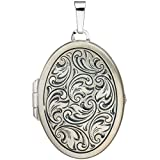 JOBO Medaillon oval für 2 Fotos 925 Sterling Silber matt Anhänger zum Öffnen