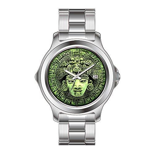 FDC Weihnachten Geschenk Uhren Damen Fashion Japanisches Quarz-Datum Edelstahl Armband Armbanduhr Azteken Maske Uhren