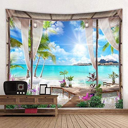Lecez Landscape Tapestry, 3D Tapestry Tapestry Digital Printing Valance Ins Background Cloth Environmental Protection Material, (blue, 150cmx150cm) (Size : 150cmx150cm)