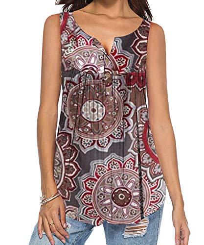 DEMO SHOW Damen Tunika Top Locker Langarm V Ausschnitt Knopfleiste Plissiert Floral Henley Shirt Bluse T Shirt (A-Braun, 2XL)