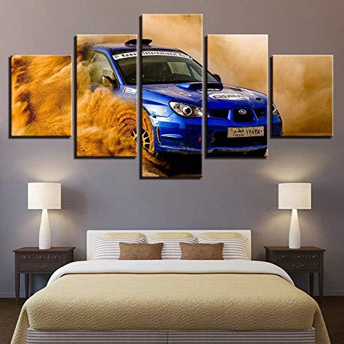 5 Lienzos Decorativos con Impresión Giclée Coche Deportivo Subaru Blue Race Diseño De Una Fotografía De Estilo Moderno, Ideal para Salones 150X80Cm