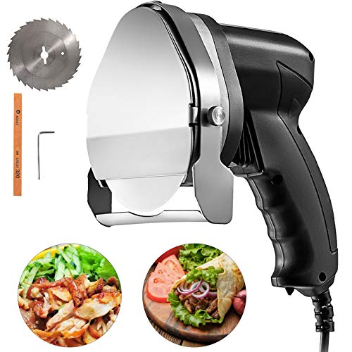 VBENLEM 110V Electric Shawarma Knife 80W Professional Turkish Kebab Slicer Stainless Steel Commercial Gyro Cutter 2800 RPM With 2 Blades Φ3.93/100mm Adjustable Thickness 0-8 mm, Wired