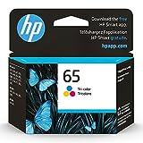 Original HP 65 Tri-color Ink Cartridge | Works with HP AMP 100 Series, HP DeskJet 2600, 3700 Series, HP ENVY 5000 Series | Eligible for Instant Ink | N9K01AN, 1-Pack