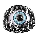 Rockyu メンズリング ステンレス クロムハーツ アイティーク 指輪 黒 髑髏 目