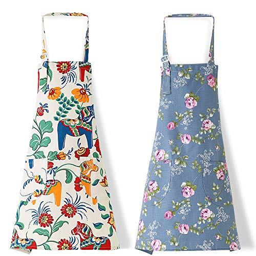 2 Pack Apronner Bib Aprons for Women Soft Cotton Linen Kitchen Cooking Chef Apron with Pockets Adjustable Machine Washable 003