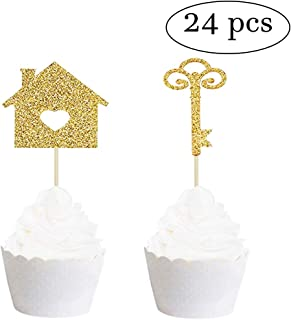Vodolo 24 pcs Sweet Home Cupcake Picks Cupcake Toppers Gold Glitter New House and Key Picks Housewarming Party Decorations (Gold)
