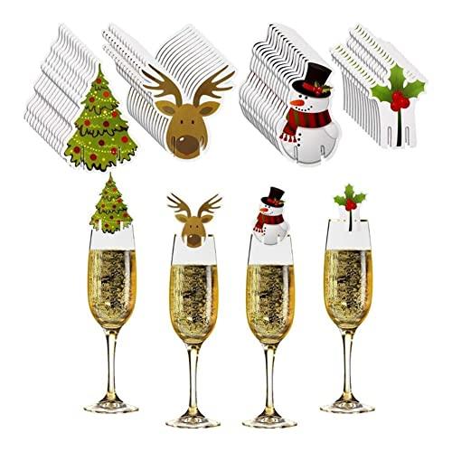 JJH 40 pz Cup Cup Card, 2021 Decorazioni Natalizie, Decorazioni di Vetro di Vino 40 Pezzi, Ornamenti Albero di Natale Home Decor Party Decor Capodanno 2022