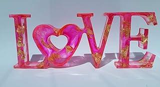 Decoración ltras love rosa y con oro