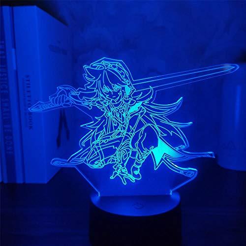 Genshin Impact Razor 3D Lámpara de juego de ilusión LED Figura de luz nocturna para niños niños dormitorio decoración táctil sensor acrílico mesa regalo 16 colores, control remoto