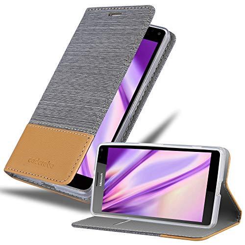 Cadorabo Custodia Libro per Nokia Lumia 950 XL in Grigio Chiaro Marrone - con Vani di Carte, Funzione Stand e Chiusura Magnetica - Portafoglio Cover Case Wallet Book Etui Protezione