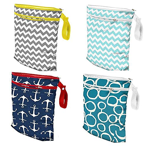 """DooBeeDooBum 2pcs Waterproof Diaper Wet Dry Bags, 2 Pockets Coated Cotton, Washable, Reusable for Beach, Pool, Daycare, Stroller, Diapers, Gym, Swimsuits, Waterpark, Wet Cloth Towel 12""""x14"""" (Yellow)"""