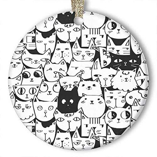 EaYanery - Figura decorativa decorativa de cerámica, diseño de gatos blancos y negros