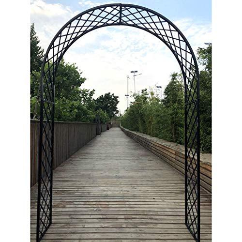 S-AIM Arco de Metal/Arco de jardín para Plantas trepadoras, Rosas, Enredaderas, jardín al Aire Libre, césped, Patio Trasero, Boda, Negro, fácil de Montar