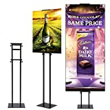 HUAZI Poster Stand Display Pedestal Sign Holder - Heavy Duty Floor Sign Stand with Base Adjustable Height Up to 75inches for Board & Foam,Black
