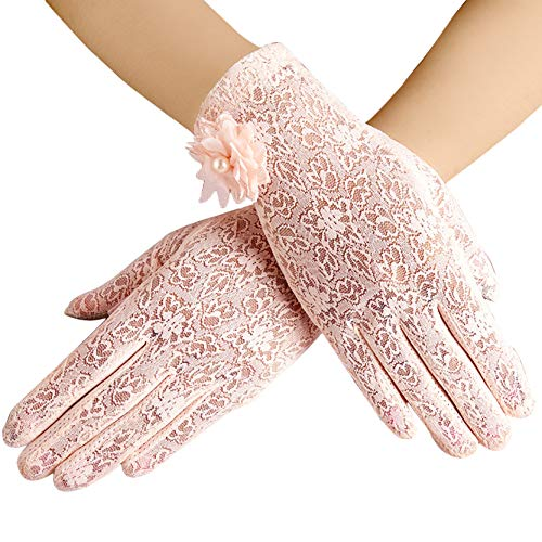 ArtiDeco Damen Lace Handschuhe Satin Braut Hochzeit Spitze Handschuhe Opera Fest Party Handschuhe 1920s Handschuhe Damen Kostüm Accessoires (Kurz Blume Pink)