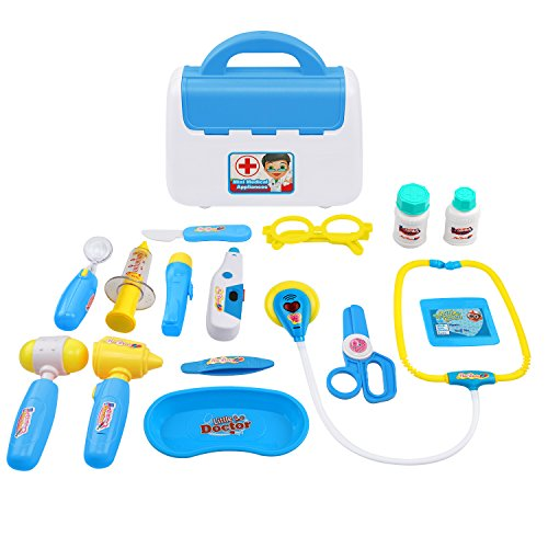 Samoleus Arztkoffer Kinder, 15St Doktor Spielset Medizinische Kits Doktorkoffer Rollenspiel Spielzeug für Kinder (Blau)