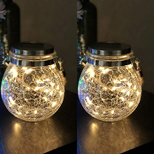 Mr.do® Solarlampen für Außen Crack Design Glas Ball Solar Garten Licht 30 LED Wasserdichte Hängeleuchten für Patio Partei Weihnachten Hochzeitsdekoration, Warmes Licht 2PCS