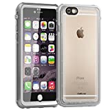 CellEver Compatible with iPhone 6 / 6s Case Waterproof Shockproof IP68 Certified SandProof Snowproof Full Body Protective Cover Designed for iPhone 6 and iPhone 6s (4.7') - Clear White/Gray