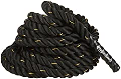1.5-inch exercise rope for strength training—works hands, arms, shoulders, back, abs, core, and legs 3-strand-thick design made of durable polyester blend; high tensile strength prevents breaking, fraying, or coming lose Can be used for undulation, p...