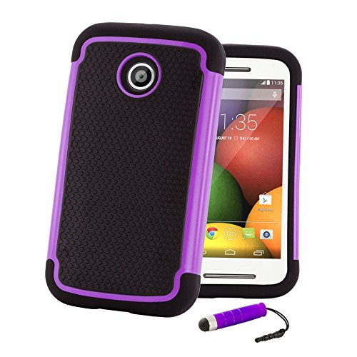 32nd Shockproof Series - Dual-Layer Shock and Kids Proof Case Cover for Motorola Moto E2 (2015), Heavy Duty Defender Style Case - Purple